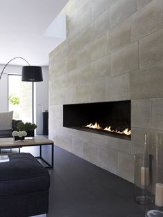 Engineered #stone #wall #tiles BRÉCY by ORSOL #fireplace