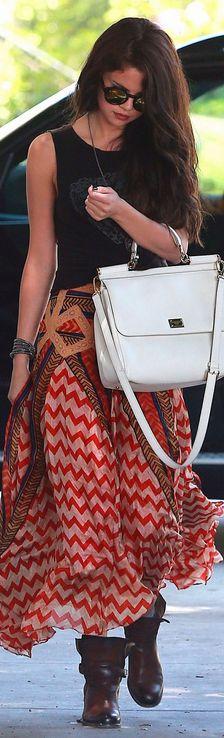 Selena Gomez | Bohemian Skirt | Dolce & Gabbana bag.