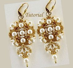 Tutorial Gold and Ivory Earrings - bead pattern PDF Earrings, ring, and bracelet $6