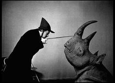 "weirdvintage: ""Dali and Rhinoceros By Philippe Halsman (via Hermes on Wings) """