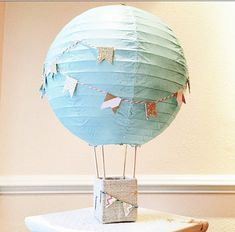 Hot Air Balloon Decoration // Up Up and Away // Mint, Aqua and Gold // Centerpiece // Nursery Art // Nursery Decor //Hot Air balloon Nursery