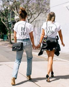 The Australian bloggers behind They All Hate Us explain what differentiates American girl style from the Aussies (while showing off some amazing Best Friends t-shirts)
