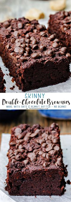 Skinny Double Chocolate Brownies made w/ honey, oats & peanut butter. No beans, oil or butter. A yummy bar recipe with little guilt! Dessert via @KleinworthCo