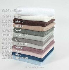 Lot de serviettes éponges (bain, toilette et invité) coton 500 gr-m² - coloris vert à broder - DMC Dmc, Ivoire, Towels, Embroidery, Green, Cotton, Color
