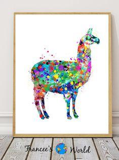 llama Watercolor Art Home Decor Wall Decor by FranceesWorld