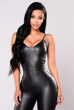 Available In Black Faux Leather Jumpsuit V Neck Zipper Back Skinny Leg Polyester Spandex Made in USA Leather Jumpsuit, Leather Pants, Pu Leather, Black Romper, Black Jumpsuit, Red Lingerie, Women Lingerie, Sexy Outfits, Sexy Dresses