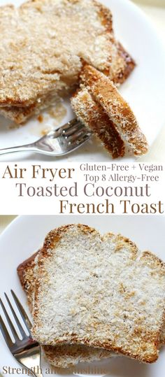 The healthiest way to make French toast for breakfast! Air Fryer Toasted Coconut French Toast made without the oil and is a gluten-free, vegan, & top 8 allergy-free recipe you'll love! No soggy bread and only 4 ingredients to crisp coconut perfection! Coconut French Toast, Make French Toast, Toasted Coconut, Gluten Free French Toast, Vegan French Toast, Shredded Coconut, Coconut Milk, Allergy Free Recipes, Vegan Recipes