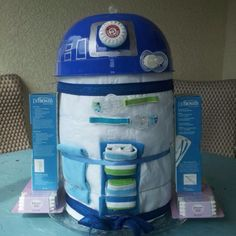 star wars diaper cake | huge Star Wars fan and my sister in law made him an R2D2 diaper cake ...