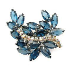 Beautiful Blue Vintage Crystal Rhinestone Brooch from Vintage Jewelry Girl! http://www.rubylane.com/shop/vinjgirl #vintagejewelry #vintagejewellery