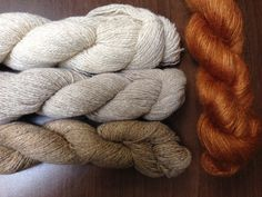 """Shibui Pebble in Ivory, Sidewalk, and Caffeine, with Silk Cloud in Brownstone; a """"Stole 2.0"""" colorway."""