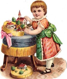"""Antique Victorian Diecut Scrap of a child with a box of Erzgebirge Putz toys ....an """"under the Christmas tree"""" wood miniature village."""