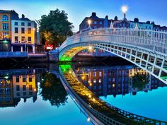 Dublin, Ireland  Halfpenny bridge  The building pictured is where my husband waltzed me in the street to the music of a busker, on our first wedding anniversary