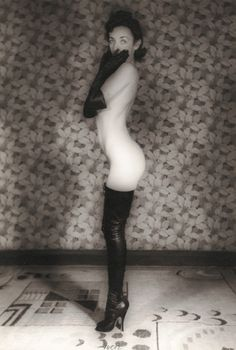"""John A.S. Coutts 1936 female in fetish boots. Great bootmaker Herr Berger who designed the two-tone """"Berger"""" style of thigh boot and the story of how he (being Jewish) managed to survive World War II by becoming a sort of bespoke cobbler to the mistresses of fetish-fan Nazi bigwigs."""