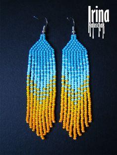 Beaded earrings seed bead earrings modern by IrinaHaluschak | classic design