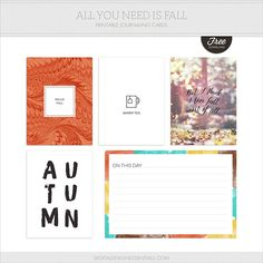 All You Need Is Fall free printable journaling cards for Project Life