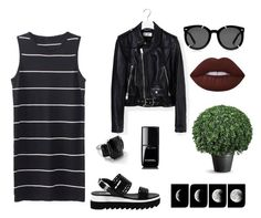 """""""Black Is My Colour"""" by zheniaa ❤ liked on Polyvore featuring Yves Saint Laurent, Love Moschino, Ippolita, Karen Walker, Chanel, Lime Crime, dress and blackandwhite"""