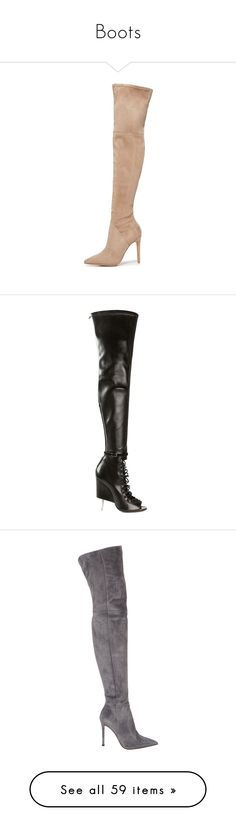 """""""Boots"""" by wanda-india-acosta ❤ liked on Polyvore featuring shoes, boots, heels, above the knee boots, faux leather thigh high boots, over the knee boots, over the knee heel boots, over knee boots, black and black over-the-knee boots"""