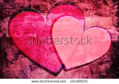 Together: Two Pink Hearts On An A Rough, Moody Background (Aged Concrete Wall) Stock Photo 124368121 : Shutterstock