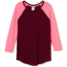 PINK Colorblock BaseballTee ($25) ❤ liked on Polyvore featuring tops, t-shirts, red, purple top, colorblock tee, red tee, red baseball tee and slouchy tee