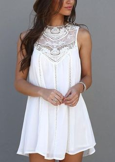 Sleeveless Crochet Hollow Shift Short Loose Dress $21.99
