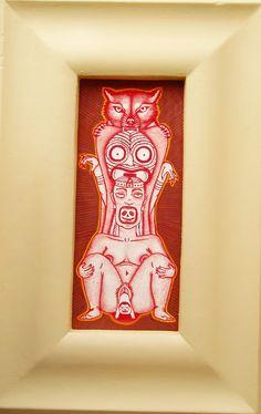acuarela/watercolor  marco: madera encontrada/frame: found pieces of wood