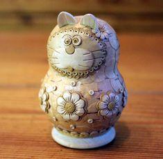 Wooden Cat Sculpture Birch Bark Carved Cat Figurine Fine