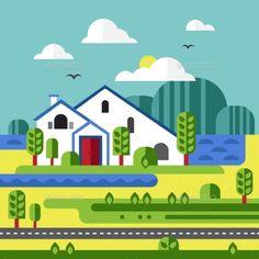 Flat Design of Farm Landscape - Landscapes Nature