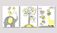 Kids Wall Art Elephant Nursery Giraffe Nursery by artbynataera