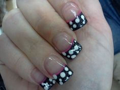 Polka dotty nails. This was my own idea, inspired by my good friend @Heather Manning-Ayala and executed by my manicurist <3 Black glittery polish is China Glaze's Haunting.