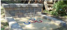 DIY Horseshoe Pit {make your own backyard horseshoe pit using patio wall blocks}