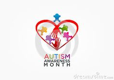An illustration represent autism logo design isolated in grey background