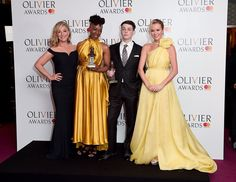 (L to R) Tracy-Ann Oberman, Noma Dumezweni, winner of the Best Actress in a Supporting Role for 'Harry Potter And The Cursed Child', Anthony Boyle, winner of the Best Actor in a Supporting Role award for 'Harry Potter And The Cursed Child', and Amanda Holden pose in the winners room at The Olivier Awards 2017 at Royal Albert Hall on April 9, 2017 in London, England.