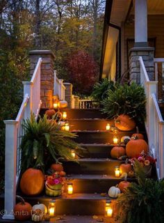Halloween steps Happy Thursday, Front Porch, Entryway, Table Decorations, Furniture, Fall Decorating, Home Decor, Curb Appeal, Eve