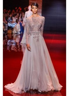Hot Sell Gorgeous Scoop Long Sleeves Chiffon Evening Dress