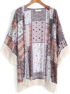 Kimono flecos Paisley relax fit-(Sheinside)