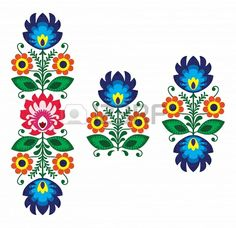 Folk embroidery with flowers - traditional polish pattern Stock Photo - 18622804
