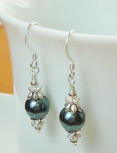 42493087a1 Tahitian Swarovski Crystal Pearl and Silver Beaded Earrings