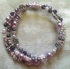 Purples and Chrysanthemum Coil Bracelet by KingLewisJewelry