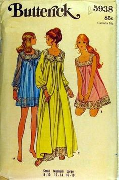 1970s vintage pattern misses lace trim NIGHTGOWN & ROBE in 2 lengths szM (12-14)