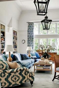 20 Blue and White Family/Living Rooms- The Glam Pad, Barclay Butera