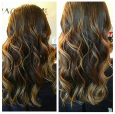 My new summer color. Dark brown hair with caramel highlights.