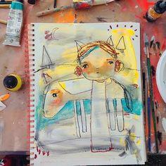 Art Journal Page From Juliette Crane's Happy Painting workshop at Lucky Star Art Camp in Texas.http://juliettecrane.com