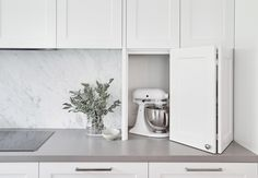 When designing kitchens with clients we discuss what appliances they have, how & when they use them & what needs to be at arms length. Apartment Kitchen, Living Room Kitchen, Kitchen Interior, Kitchen Design, Hidden Kitchen, New Kitchen, Kitchen Ideas, Kitchen Reno, Country Kitchen