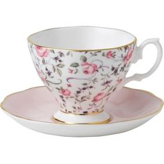 WEDGWOOD Rose Confetti teacup and saucer set ($31) ❤ liked on Polyvore featuring home, kitchen & dining, drinkware, vintage bone china, wedgwood, vintage tea cup and saucer and bone china