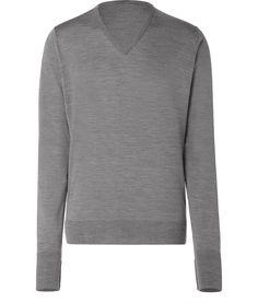 Silver M?lange V-Neck Pullover