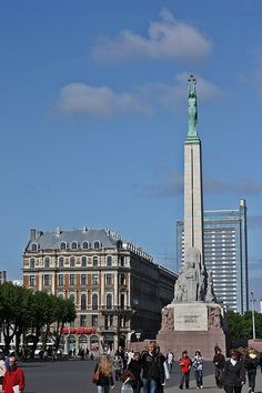 The Freedom Monument is a memorial located in Riga, Latvia, honouring soldiers killed during the Latvian War of Independence (1918–1920). It is considered an important symbol of the freedom, independence, and sovereignty of Latvia; it stands 138 ft.