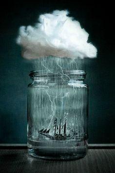 #Storm in a #jar #surrealism #lightning