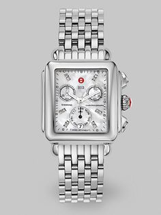 Michele Watches Deco Day Diamond Stainless Steel Chronograph Bracelet Watch