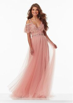 Fabulous Tulle V-Neck Neckline A-line Prom Dresses With Beadings