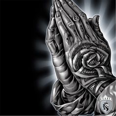 Praying hands by OG Abel OGAbel art chicano blackandgrey prayinghands Hand Tattoos, Chicanas Tattoo, Body Art Tattoos, Gangster Tattoos, Gangster Drawings, Money Rose Tattoo, Og Abel Art, Praying Hands Tattoo Design, Chicano Tattoos Sleeve